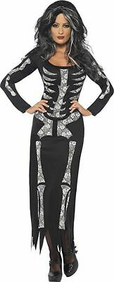 Smiffy's Skeleton Costume Adult Womens Fancy Dress Halloween Costume 38873