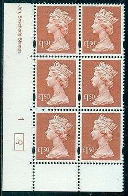 Great Britain Sg-Y1800, Scott # Mh-321 Cyl. Blk/6, Mint, Og, Nh, Great Price!