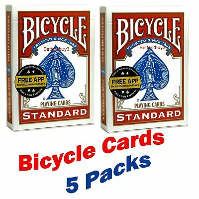 5 Packs Bicycle Playing Cards Air Cushioned Packs Poker , Magician, Magic