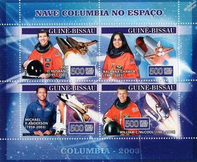 NASA STS-107 Space Shuttle COLUMBIA Astronaut Memorial Stamp Sheet/Guinea Bissau