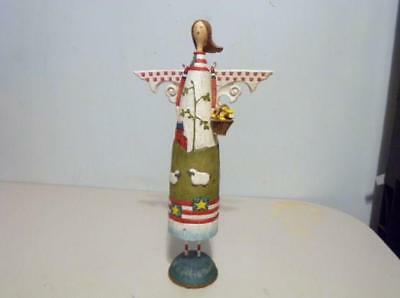 Vintage All Wood Folk Art Style- Country Style - Red White & Blue Angel Figurine