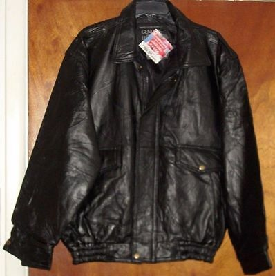 Bomber Jacket Leather Men's Napoline Jacket Black Genuine Motorcycle Line S-5XL