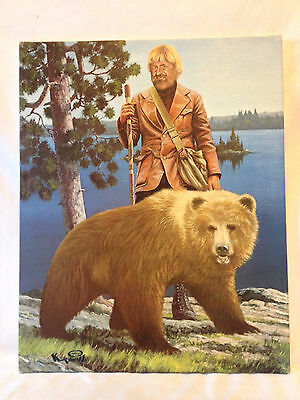 Vintage 1974 Hamm's Beer sign faux painting Mountain Man & Grizzly Bear retro