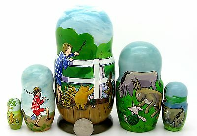 Russian 5 Matryoshka original illustrations Winnie the Pooh Piglet Eeyore
