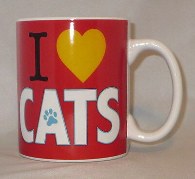 I Love Cats Coffee Mug Cup Large 20 oz Red Paw Print Yel Heart Ceramic Oversize