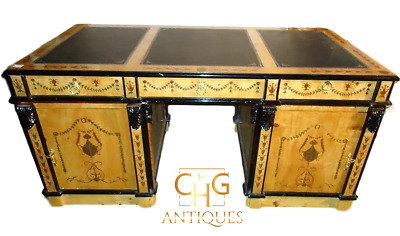 Italian Marquetry Inlaid Maple Leather Top Partners Desk