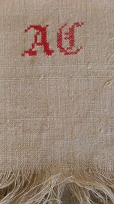 Pair Vintage Italian Hemp Linen Towels Monogramme Still attached by loom threads