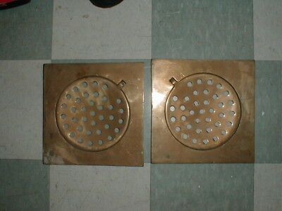 "Antique Vintage Solid Brass Floor Drains - Nom. Sq. Ft. 11 3/4"" - New Old Stock"