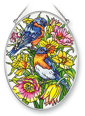 "Bluebirds Daffodils Suncatcher NEW Hand Painted Glass Oval 7x5"" AMIA Spring"