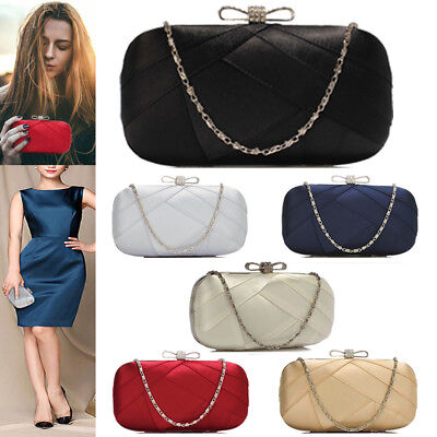 Womens Designer Satin Hard Case Box Clutch Evening Prom Party Wedding Purse new