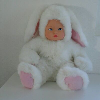 """Anne Geddes 14"""" Plush Baby BUNNY Doll *Removable Rabbit Costume Outfit"""