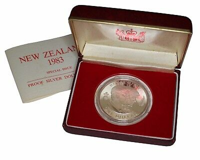 1983 Royal Mint New Zealand Silver Proof $1 Coin in Case Prince & Princess Wales