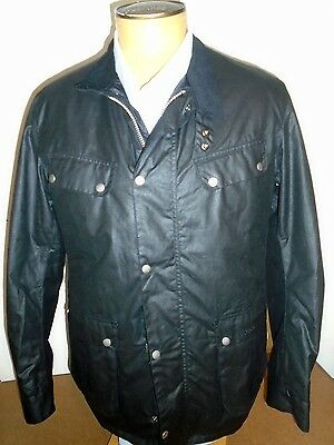 Barbour International Duke Wax Cotton Jacket NWT Large $399 Black