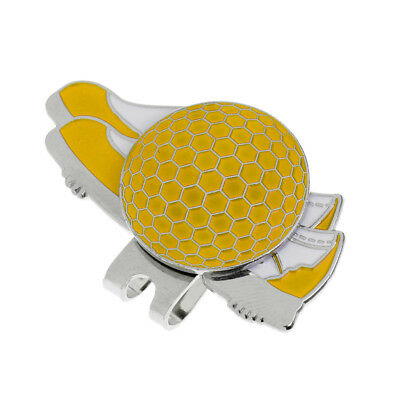 Stainless Steel Creative Shoe Golf Hat Clip with Magnetic Ball Marker Yellow