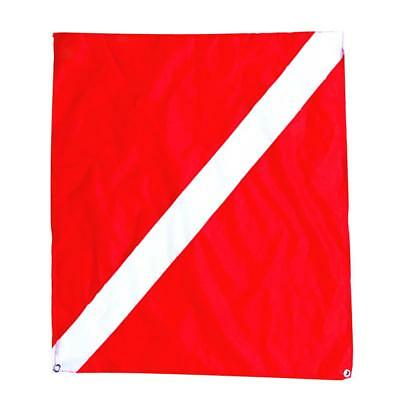 Nylon Diver-Down Boat Flag, Red & White Scuba Dive Flag Marker Banner 20x24""
