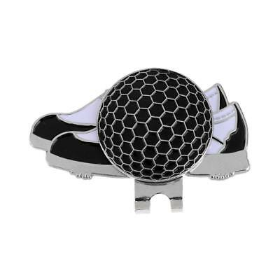 Stainless Steel Shoe Golf Hat/ Visor Clip with Magnetic Ball Marker Black