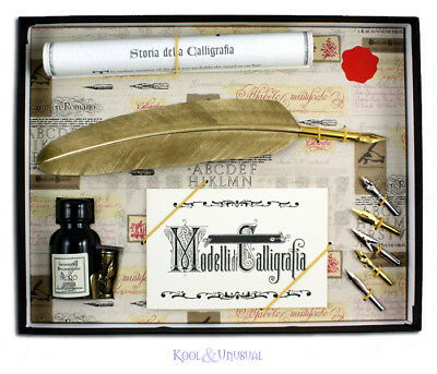 Deluxe GOLD Italian Feather QUILL Pen and Ink Holder Set with Nibs