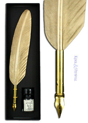 Small GOLD Italian Feather QUILL Pen and Ink Set
