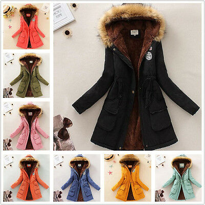 Women Coats Warm Winter Jackets Fur Collar Long Parkas Hoodies Casual Outwear