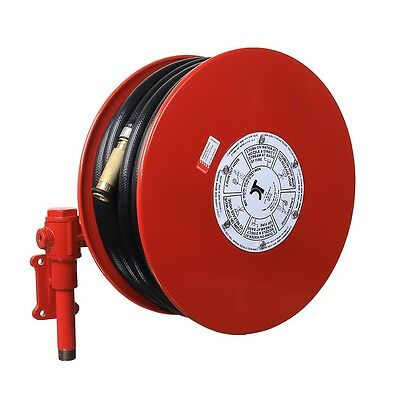 Red Fire Fighting Hose Reel 19mm x 36M hose with swivel arm.