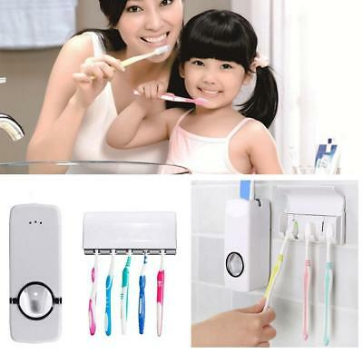 Automatic Toothpaste Dispenser With Five Toothbrush Holder Stand Wall Mount GD