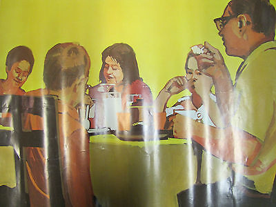 "Original 1968 National DAIRY Council Poster ""Enjoying Milk Every Meal"" Farm Adv"