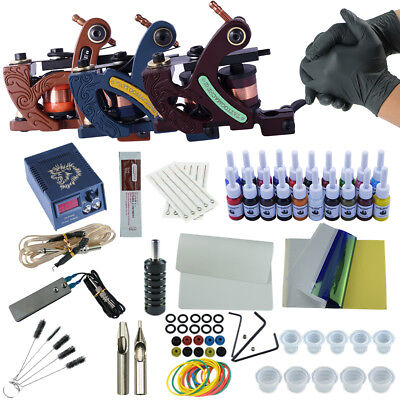 Pro Tattoo Kits 3 Tattoo Machine Guns 20pc Color Inks Power Needles Supply Pedal