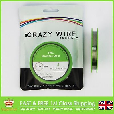 SS316L Wire - 19,20,21,22,23,24,25,26,27,28,29,30,31,32,34,36,38->48AWG ->1000'