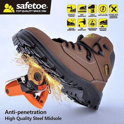Safetoe Wheat Safety Boots Shoes Steel Toecap Breatheable Leather Lace US Size