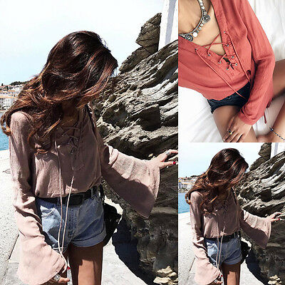 New Fashion Women Summer Cotton Blouse Off Shoulder Loose Casual T Shirt Tops