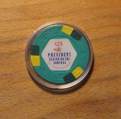Paulson $25. PRESIDENT CASINO CHIP ON THE ADMIRAL - St. LOUIS, MISSOURI