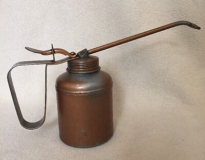 Vintage Thumb Pump Metal Oil Can good old oiler with long spout