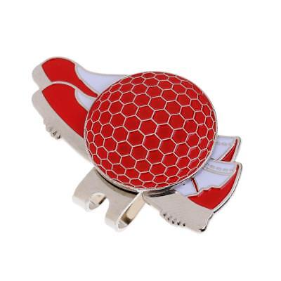 Stainless Steel Shoe Golf Hat/ Visor Clip with Magnetic Ball Marker Red