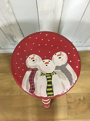 Hand Painted Vintage Wooden Stool With Christmas/snowmen Theme