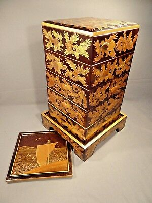 Late Edo Period Japanese Lacquer Five-Tier Stacking Picnic Boxes- HANDSOME!!