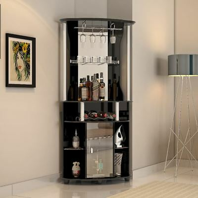 Liquor Cabinet Mini Home Bar Wine Storage Rack Corner Pub Furniture