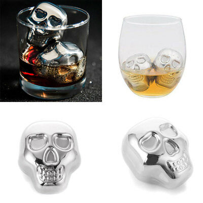 Stainless Steel Skull Ice Cube Drink Cooler Wine Party Cooling Whiskey Stone