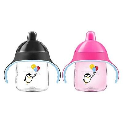 New Avent Philips 2 Pack 9oz My Little Sippy Cup My Penguin 9mo-4yrs Pink Black