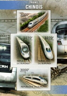 High Speed Trains of China (CRH2/CRH2A/CRH5/CRH3C EMU) Stamp Sheet/2012 Burundi