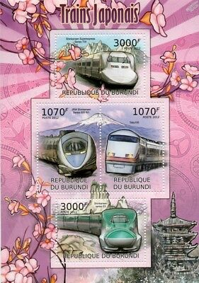 High Speed Trains of Japan (Shinkansen E5/700/500 W1) Stamp Sheet/2012 Burundi