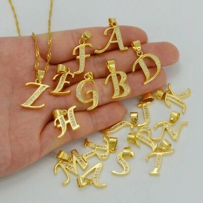 Initial Letters Pendant Necklace 18k Gold Plated Cz crystals jewelry for women