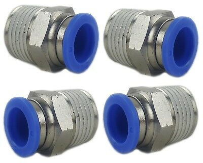 "4 - Brass Fitting Straight 1/2""npt To 1/2"" Hose Push Connect Air Ride Suspension"