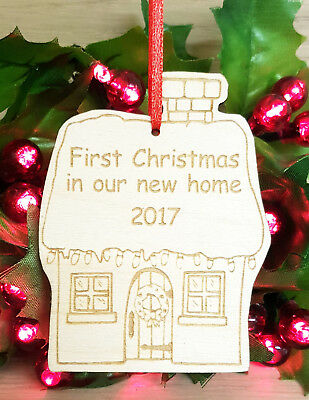Personalised Christmas Tree Decoration Bauble Xmas Gift Ornament New Home Wooden