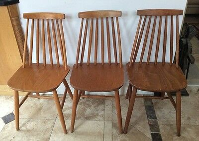 3 x VINTAGE RETRO ERCOL STYLE  CHAIRS