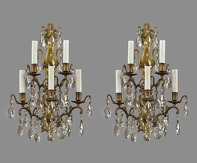 Brass & Crystal Marie Therese Sconces c1940 Vintage Antique Wall Lights