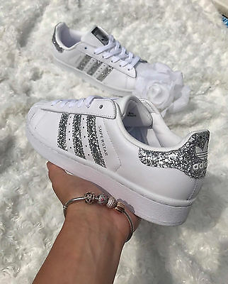 Adidas Superstar White Metallic Silver Glitter Womens Trainers S76923 all sizes