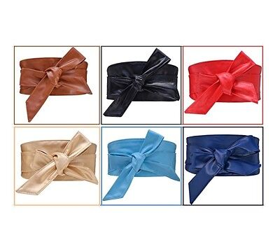 New Women Waistband PU Leather Self Tie Bowknot Band Wrap Around Sash Wide Belt