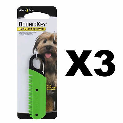 Nite Ize DooHicKey Hair + Lint Remover Green Keychain Dog & Cat Hair (3-Pack)