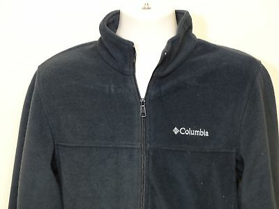 Men's Columbia Black Solid Long Sleeve Full Zip Up Fleece Jacket Size Medium M