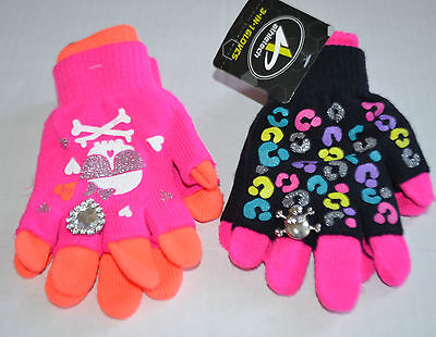CUTE!! Girls Athletech 3-in-1 Gloves with Bling Layer Or Fingerless U Choose Set